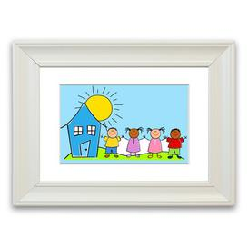 image-'Happy Children in the Sun' Framed Graphic Art in Baby Blue East Urban Home Size: 70 cm H x 93 cm W, Frame Options: White