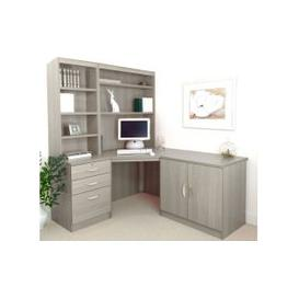 image-Small Office Corner Desk Set With 3 Drawers, Cupboard & Hutch Bookcases (Grey Nebraska)