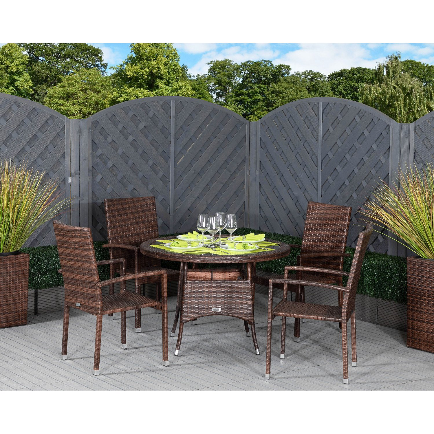 image-Rio 4 Armed Stacking Rattan Garden Chairs and Small Round Dining Table in Chocolate Mix