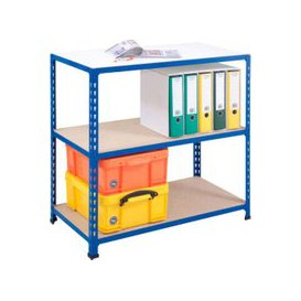 image-Rapid 2 Shelving With 3 Chipboard Shelves 915wx840h (Blue), Blue, Free Next Day Delivery