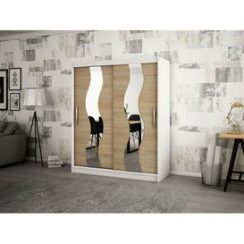 image-Margrete 2 Door Corner Wardrobe Ebern Designs Size: 200cm H x 150cm W, Finish: Matt White/Sonoma Oak