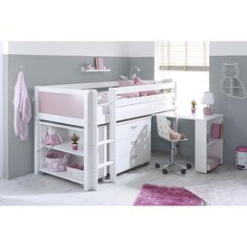 image-Nordic Mid sleeper 3 with desk, chest and bookcase (colour panels)