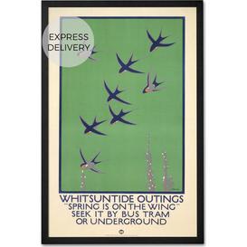 image-Whitsuntide Outings Retro Framed Wall Art Print 47 x 69cm, Multi