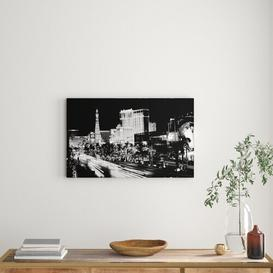 image-'Paris Roads Night Lights Black and White' Photograph on Wrapped Canvas East Urban Home Size: 50.8 cm H x 81.3 cm W