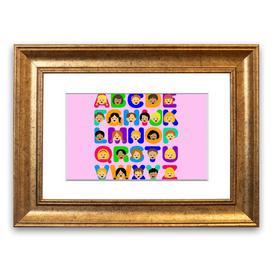 image-'Alphabet Children' Framed Graphic Art in Pink East Urban Home Size: 40 cm H x 50 cm W, Frame Options: Gold