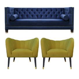 image-Downey 3 Piece Sofa Set BelleFierté Upholstery Colour: Navy Blue/Yellow
