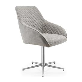 image-Wolf Grey Textured Linen Effect Quilted Swivel Base Innerspace Chair set of 2