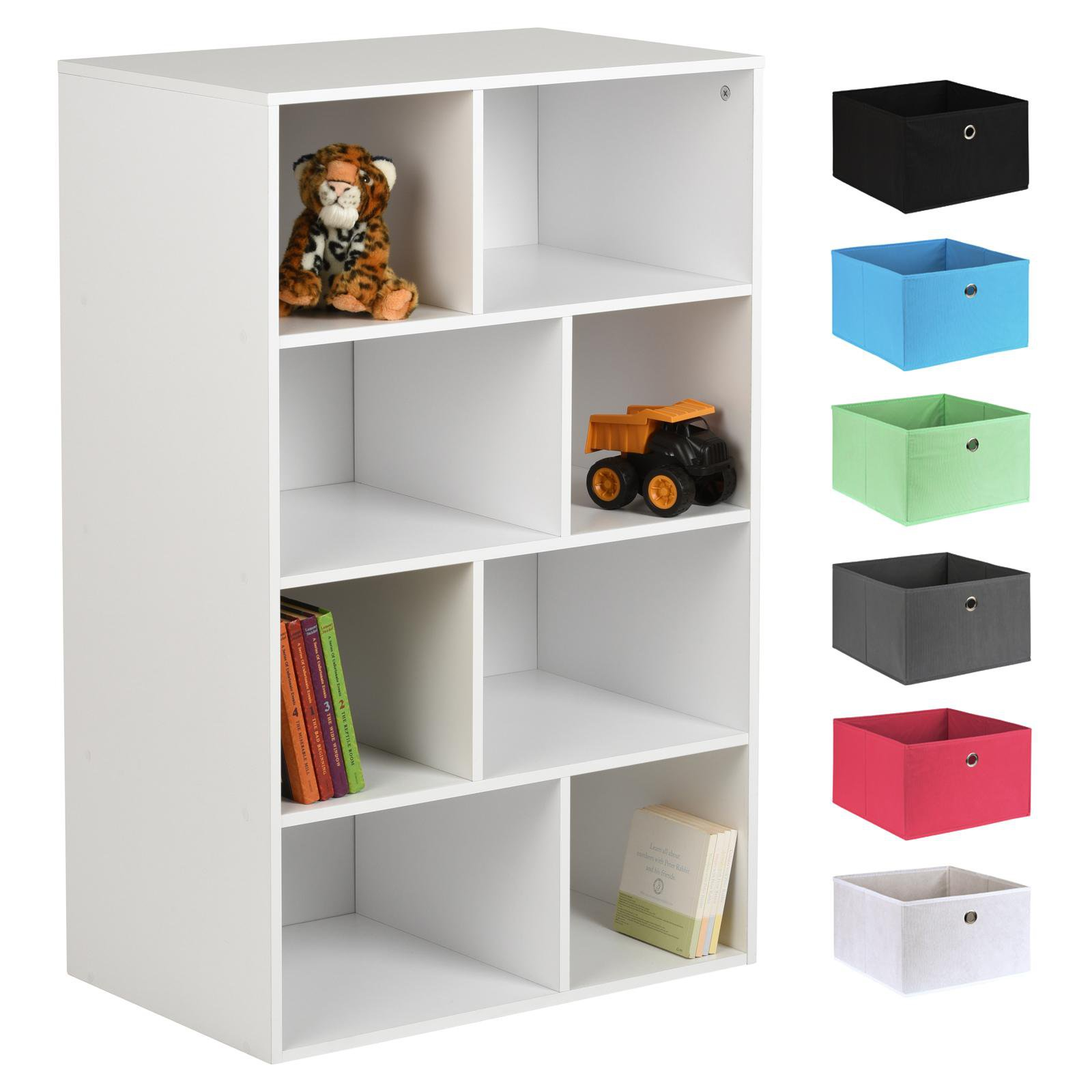 image-Hartleys White 8 Cube Kids Storage Unit