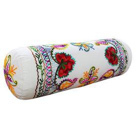 image-Paoletti Turin Embroidered Bolster Cushion Cream