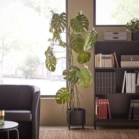 image-Artificial Monstera plant, H 1800 mm, incl. black steel pot on stand