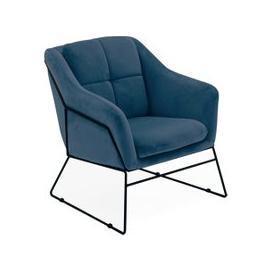 image-Klaus Velvet Fabric Bedroom Chair In Blue
