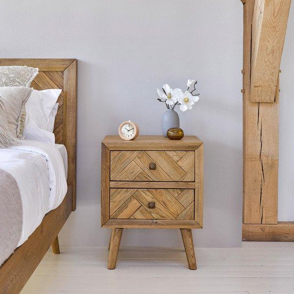 image-Brushed and Glazed Solid Oak Bedside Tables - Bedside Table - Parquet Range - Oak Furnitureland