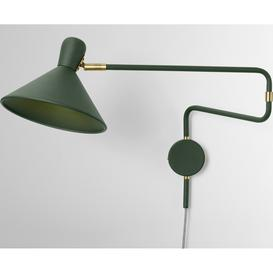 image-Ogilvy Swing Arm Wall Lamp, Green & Antique Brass