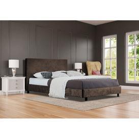 image-Doe Upholstered Bed Frame Rosdorf Park Size: Double (4'6), Colour: Brown