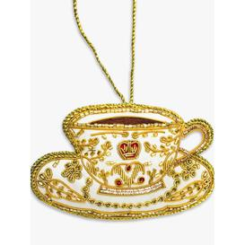 image-Tinker Tailor Tea Cup Christmas Tree Decoration, Gold