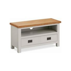 image-Global Home Devon TV Unit - Oak and Soft Cotton Painted