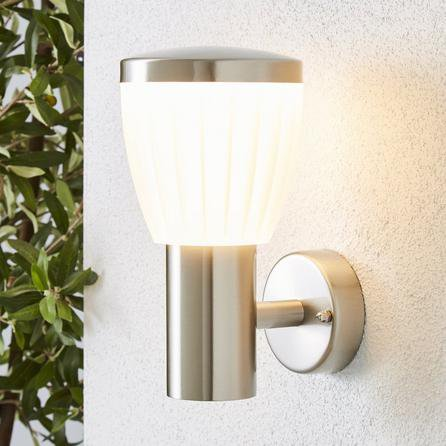 image-Rover LED Frosted Shade Steel Outdoor Wall Light Silver