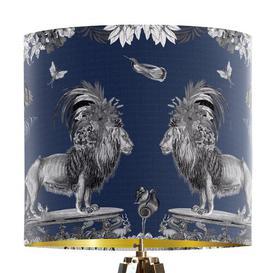 image-Classical Jungle Lion 30cm Cotton Drum Table Lamp Shade