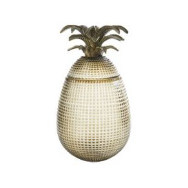 image-Bronze Carved Glass Pineapple Box