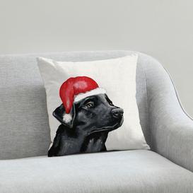 image-Labrador Christmas Hat Cushion Natural