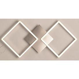 image-Wall Art 2 Large Square LED Wall Flush Light In Satin Silver