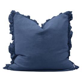 image-Olivia French Blue Ruffled Linen Cushion