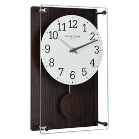 image-Wood Effect Pendulum Wall Clock London Clock Company