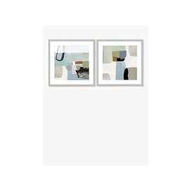 image-Nathanial Mather - Blue Rhythm/Forgotten Road Abstract Framed Print & Mount, Set of 2, 61.5 x 61.5cm, Blue