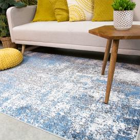 image-Modern Blue Abstract Distressed Living Room Rug - Enzo