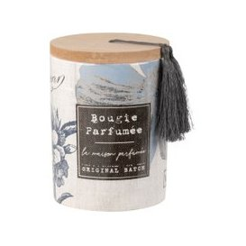 image-Scented Candle in Blue Ceramic Holder with Flowers Print