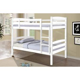 image-Simson Solid Wood White Bunk Bed