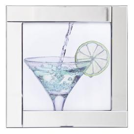 image-Square Mirror Picture Frame with Glittered Cocktail Glass Illustration - Silver