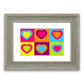 image-'Six Hearts Childrens' Framed Graphic Art East Urban Home Size: 93 cm H x 126 cm W, Frame Options: Blue