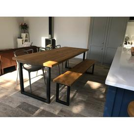image-Gaskin Dining Table Williston Forge Table Top Colour: Rustic Brown, Size: 75 x 120 x 80cm