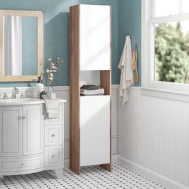 image-38.2 x 180cm Free Standing Tall Bathroom Cabinet Mercury Row Finish: White/Natural Oak