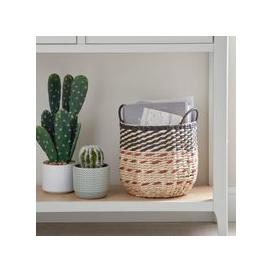 image-Small Hexagonal Basket Brown and Blue
