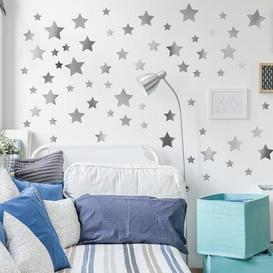 image-Silver Metallic Stars Wall Stickers Silver and White