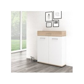 image-Geneva Modern Shoe Storage Cabinet In Sonoma Oak And White