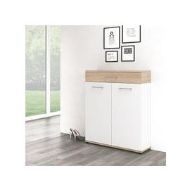 image-Geneva Modern Shoe Storage Cabinet In Sonoma Oak And White
