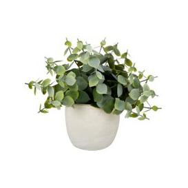 image-Artificial Plant in White Ceramic Pot