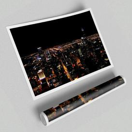 image-'NYC Night Lights Architecture' - Unframed Photograph Print on Paper East Urban Home Size: 42 cm H x 59.4 cm W