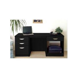 image-Small Office Desk Set With 3+1 Drawers & Printer Shelf (Black Havana)