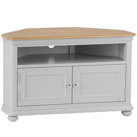 image-Brooklyn Essential Soft Grey & Oak Furniture Corner TV Unit