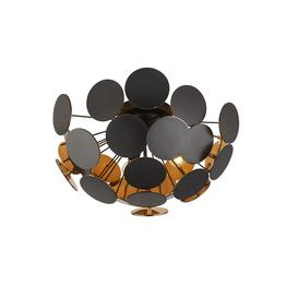 image-Searchlight 3073-3BG Discus 3 Light Floor Light In Black And Gold