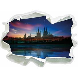 image-Northern Lights Over Cologne Skyline Wall Sticker East Urban Home Size: 45cm H x 62cm W x 0.02cm D
