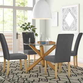 image-Juniper Dining Set with 4 Chairs Zipcode Design Colour: Grey