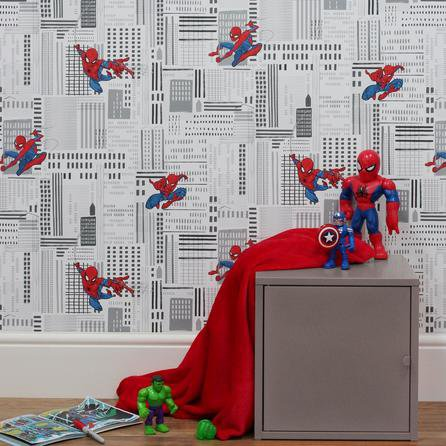 image-Disney Marvel Spider-Man Wallpaper White, Red and Blue