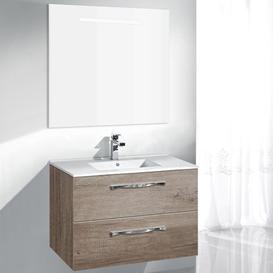 image-Taku 700mm Wall Mount Vanity Unit Belfry Bathroom Base Finish: Light Oak