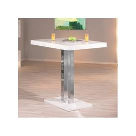 image-Palzo Bar Table In White High Gloss With Chrome Poles