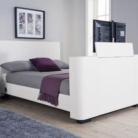 image-Newark Double TV Bed White Faux Leather